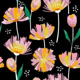Trendy Wild blooming flower tulip r seamless pattern in a hand d royalty free illustration