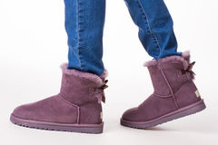 Trendy winter boots. Royalty Free Stock Images