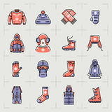 Trendy winter clothes  line icons set, sport, outline sportswear Stock Photo