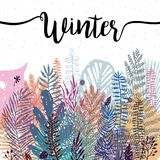 Trendy winter leaves background. Vector botanical illustration, Great design element for congratulation cards, banners Royalty Free Stock Photography