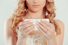 Free Trendy With Phone. Nail Polish. Art Manicure. Modern Style Pink White Nail Polish. Beauty Hands Holding Mobile Cellphone. Stylish Royalty Free Stock Images - 171576249