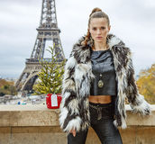 Trendy woman with Christmas tree in Paris, France Royalty Free Stock Photos
