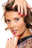 Trendy woman with colorful nails Stock Image