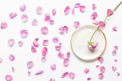 Trendy woman desk with rose petals and plate top view mock-up Royalty Free Stock Photo