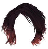 Trendy  woman disheveled hairs kare with fringe dark   varicolored  red coloring.  medium length . beauty style . realistic  3d Royalty Free Stock Images