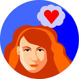 Trendy woman is dreaming about love. Flat Style.Redhead Girl on Royalty Free Stock Photography