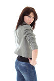 Trendy woman in grey jacket posing Royalty Free Stock Images