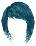 Trendy  woman  hairs blue color. kare with bangs medium length Stock Photos