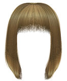 Trendy  woman  hairs bob kare with fringe  . light  blond  colors .  medium length . beauty style . Royalty Free Stock Images
