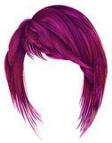 Trendy  woman  hairs bright pink color. kare with bangs medium Stock Image