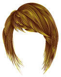 Trendy woman hairs bright yellow color. kare with bangs mediu Royalty Free Stock Photography