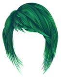 Trendy  woman  hairs green colors. kare with bangs  medium lengt Stock Photos