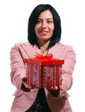 Trendy Woman Is Giving A Gift Stock Photos