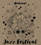 Trendy woman on jazz festival poster Stock Images
