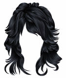 Trendy woman long hairs brunette dark brown  colors .   beauty fashion .  realistic 3d Stock Images