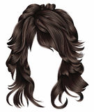 Trendy woman long hairs brunette dark brown  colors .   beauty fashion . Stock Image