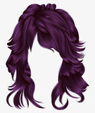 Trendy woman long hairs purple colors .beauty fashion .  realist Royalty Free Stock Photos