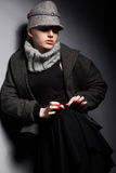 Trendy Woman Mod in Woolen Cap and Jacket - Seasonal Collection Royalty Free Stock Photos