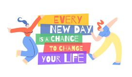 Woman Motivation Poster Opportunity Change Life stock illustration