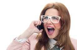 Trendy woman on phone Royalty Free Stock Image