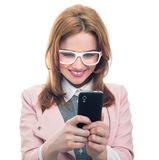 Trendy woman on phone Stock Image