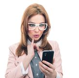 Trendy woman on phone Royalty Free Stock Photography