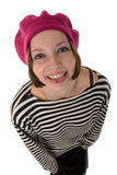 Trendy woman in pink hat Royalty Free Stock Photo