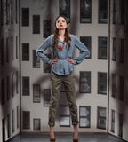 Trendy Woman posing in Pants and Blouse. Trendy Fashion Woman posing in Pants and Blouse stock photography