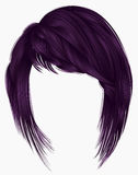 Trendy  woman purple colors . hairs kare with fringe  .     beau Royalty Free Stock Photography