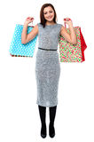 Trendy woman with shopping bags Stock Photos