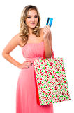 Trendy woman with shopping bags Royalty Free Stock Photos