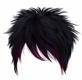 Trendy woman short hairs black pink colors . long fringe . fashion style . emo Japanese . royalty free stock image