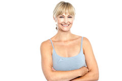 Trendy woman in sleeveless spaghetti top Stock Images