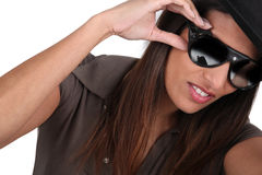 Trendy woman with sunglasses Stock Image