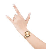 Trendy wrist watch on woman hand isolated on white background. Stock Photo