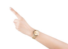 Trendy wrist watch on woman hand isolated on white background. Stock Photos