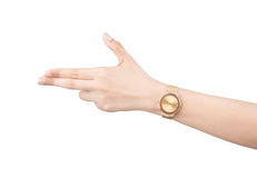 Trendy wrist watch on woman hand isolated on white background. Royalty Free Stock Photo