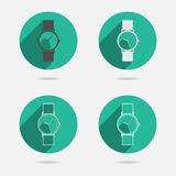Trendy wristwatch icon with long shadow Royalty Free Stock Photo