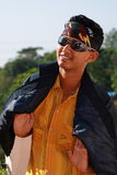 Trendy young Asian boy. With bandanna and sunglasses smiling Stock Photos