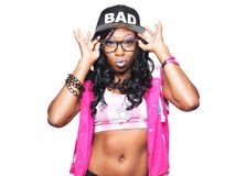 Trendy young female rapper making face Royalty Free Stock Photography