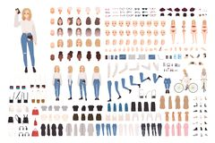Trendy young girl constructor set or DIY kit. Collection of body elements in various postures, fashionable apparel. Female cartoon character. Front, side, back vector illustration