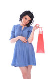 Trendy young girl with a shopping bag Stock Photography