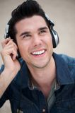 Trendy young man with headphones Stock Photo