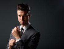 Trendy young man in modern business suit Royalty Free Stock Image