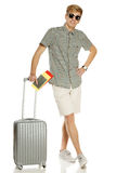 Trendy young man with suitcase Royalty Free Stock Images