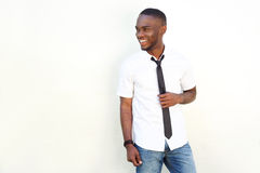 Trendy young man in white shirt and tie Royalty Free Stock Photography