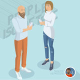 Trendy young man and woman with smartphones. Isometric 3d flat design vector people different characters, styles and professions, full length diverse acting Stock Photos
