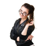 Woman in glasses smiling Stock Photos