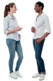 Trendy young women having a discussion. Two friendly women smiling and talking casually Stock Image