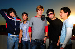 Trendy youth. Portrait of young trendy group of friends standing together Royalty Free Stock Photo